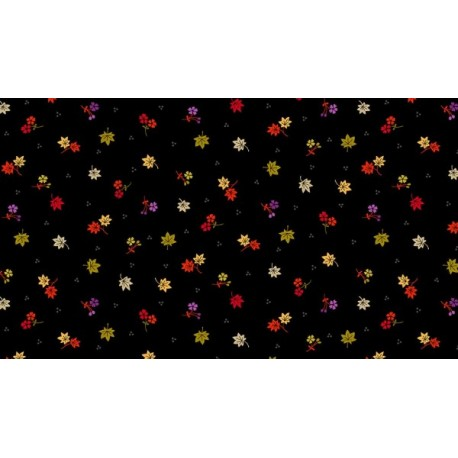 Kimono Maple Leaves  Black 2048 X
